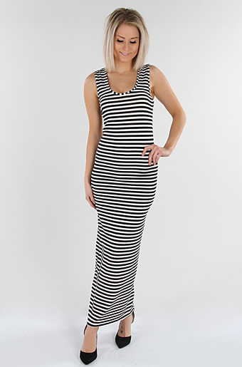 Venny Striped Maxi Kjole Stribet