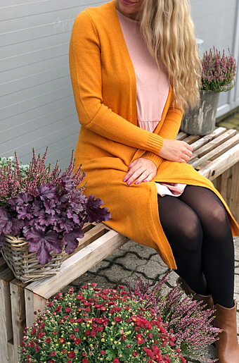 Viril Lang Cardigan Golden Oak