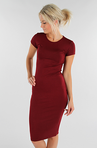 Basic Bodycon Kjole Wine