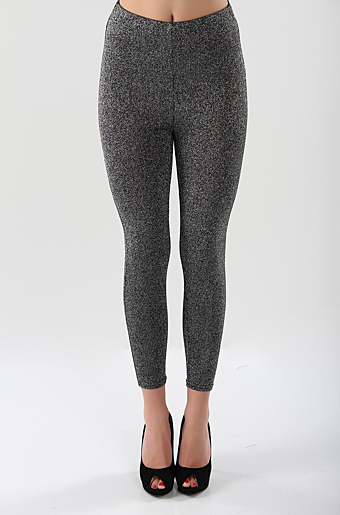 Lurex Glitter Leggings Sort/sølv