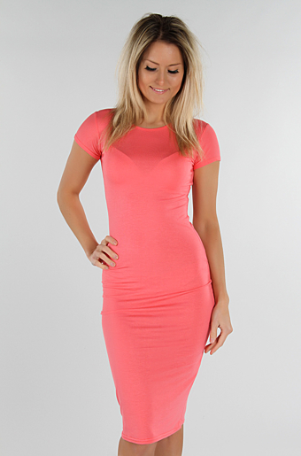 Basic Bodycon Kjole Koral