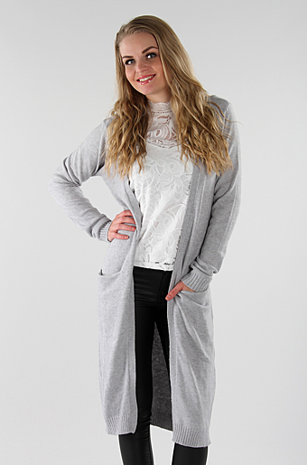 Viril Lang Cardigan Light grey melange