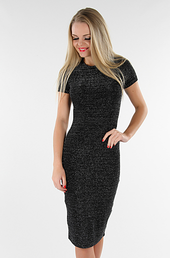 Glitter Basic Bodycon Kjole Sort/sølv