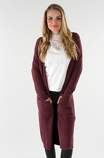 Viril Lang Cardigan Fig melange
