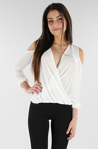 Wrap Over Bluse Creme