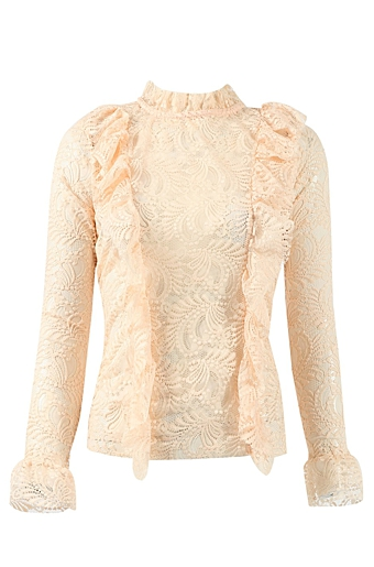Frill Cheer Bluse Nude