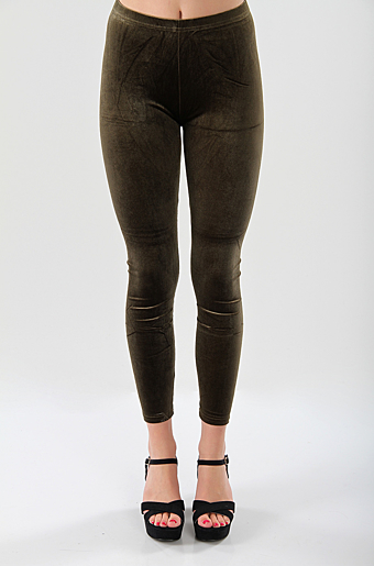 Velour Leggings Khaki