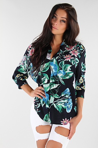 Cammie Flower Bluse Sort store blomster