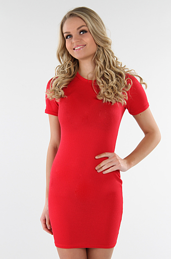 Cady Basic Bodycon Rød