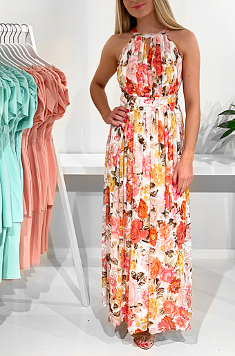 Vihibiscus Halterneck Maxi Kjole Cloud Dancer/ Multi Color