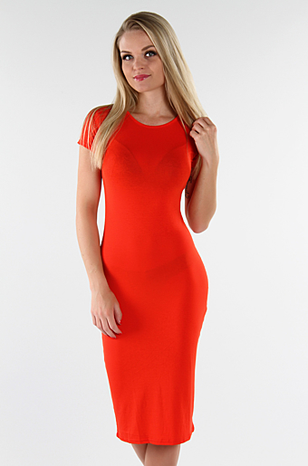 Basic Bodycon Kjole Orange