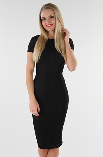 Glitter Basic Bodycon Kjole Sort