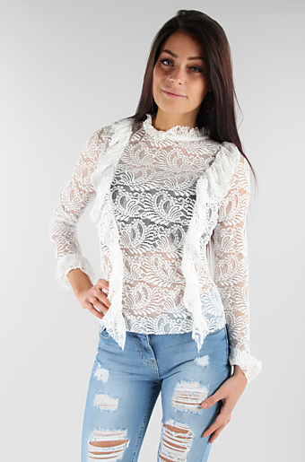 Frill Cheer Bluse Creme