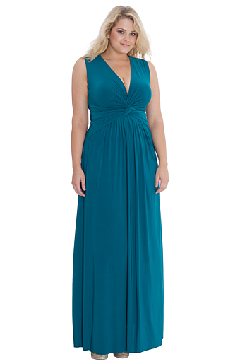 Emalia Plus Size Aftenkjole Teal