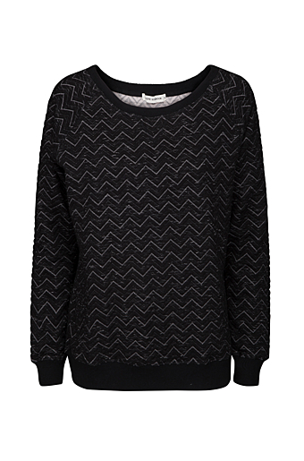 Zig Zag Sweat Bluse Sort