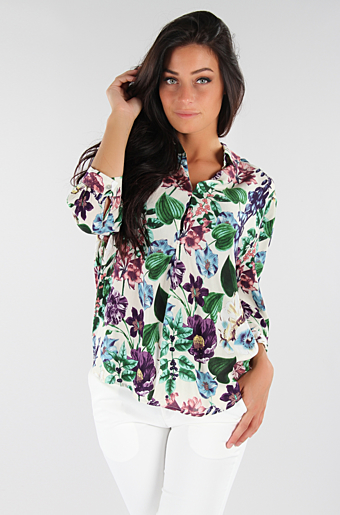 Cammie Flower Bluse Beige store blomster