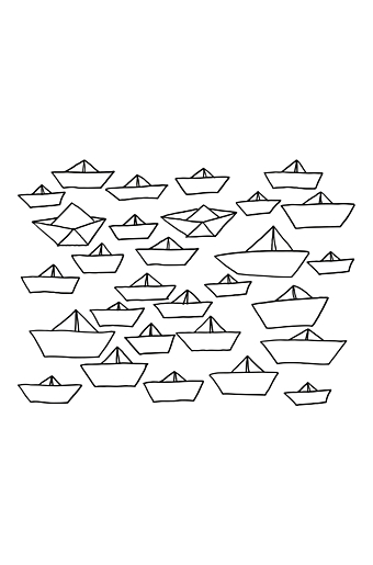 Wallstickers Little Ships Sort