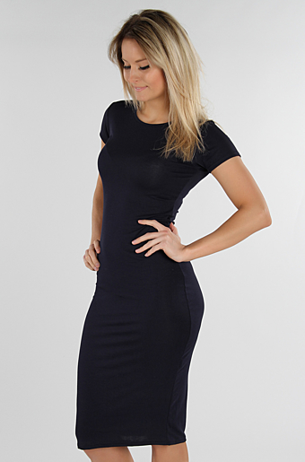 Basic Bodycon Kjole Navy