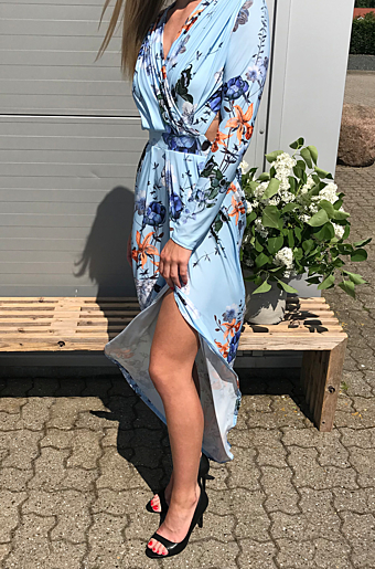Carry Floral Maxi Kjole Powder Blue