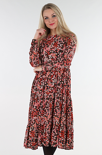 Macy Midi Kjole Black Pink/ Red Flowers