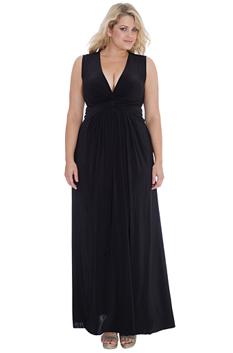 Emalia Plus Size Aftenkjole Sort
