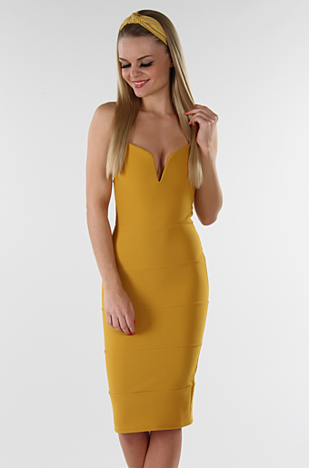 Dolly Bodycon Kjole Mustard