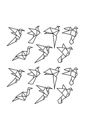 Wallstickers Paper Birds Sort