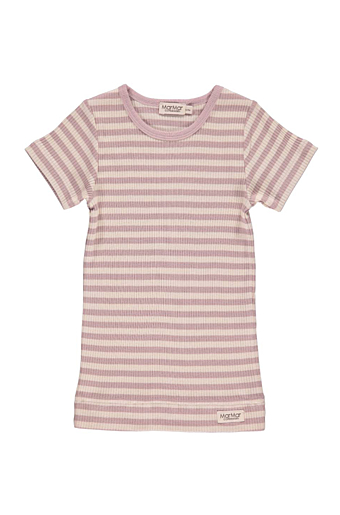Stripe T-shirt SS Faded rose/off white