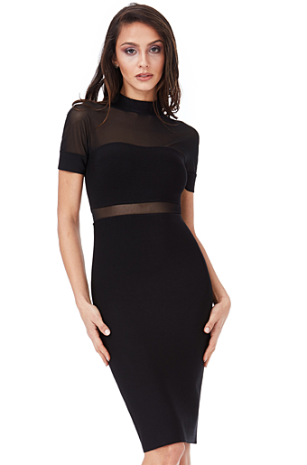 Bodycon Mesh Kjole Sort