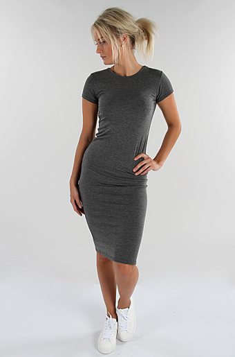 Basic Bodycon Kjole Mørkegrå