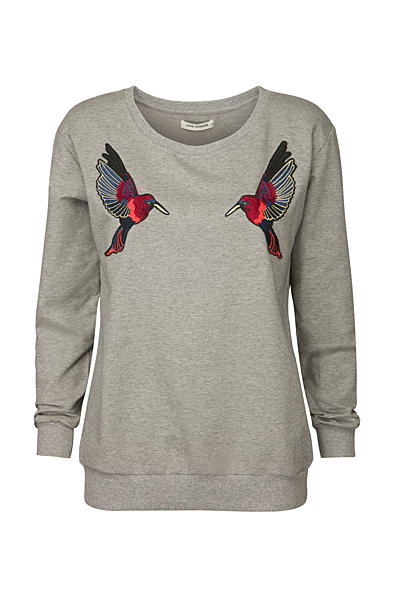 Sweat Bluse Med Kolibri Grey Melange