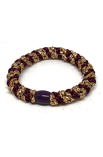 Braided Stribet Glitter Hairties Bordeaux/Guld