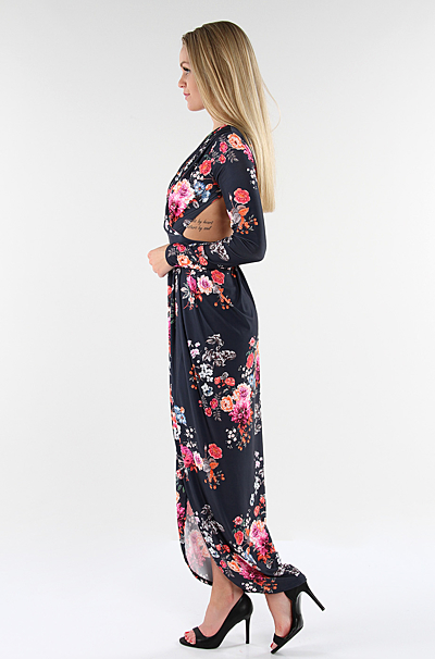 Carry Floral Maxi Kjole Navy