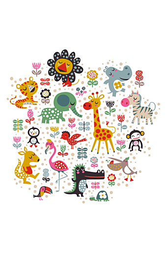 Wallstickers Zoo Animals