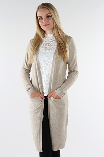 Viril Lang Cardigan Natural melange
