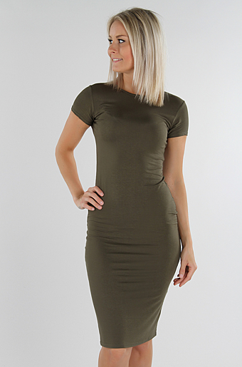 Basic Bodycon Kjole Khaki