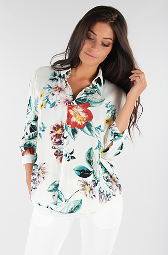 Cammie Flower Bluse Creme store blomster