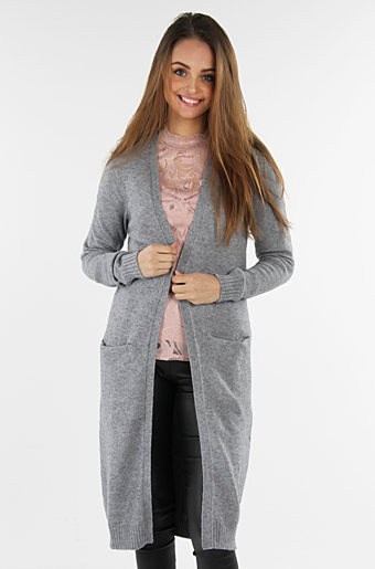 Viril Lang Cardigan Medium grey melange