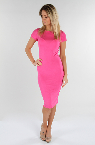 Basic Bodycon Kjole Pink