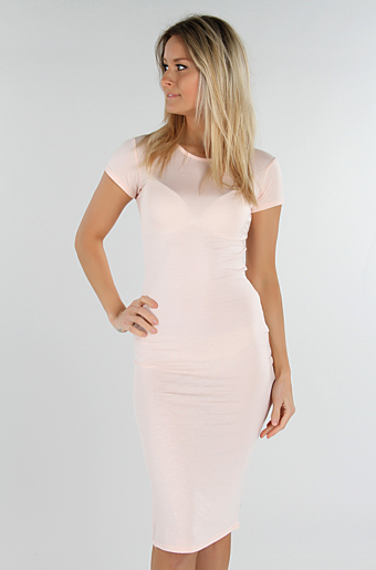 Basic Bodycon Kjole Nude