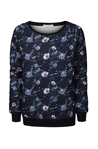 Blomster Sweat Bluse Sort