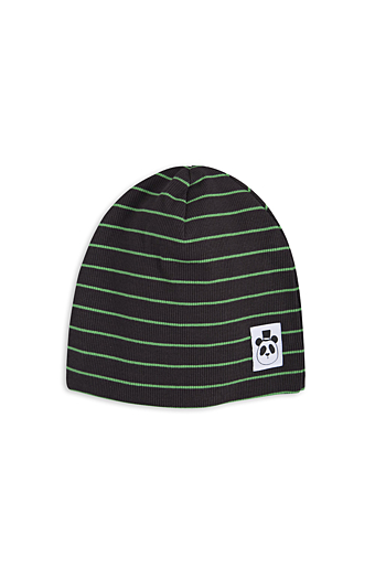 Stribet Rib Beanie Sort