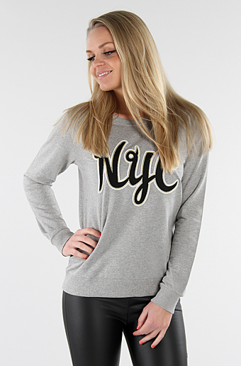 Sweat Bluse Med NYC Grey melange
