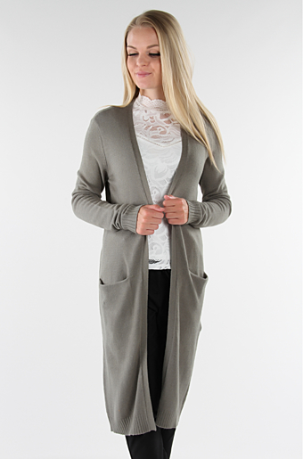 Viril Lang Cardigan Castor grey