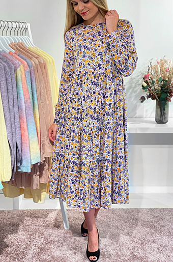 Hullu Midi Kjole Bloom/Yellow/blu