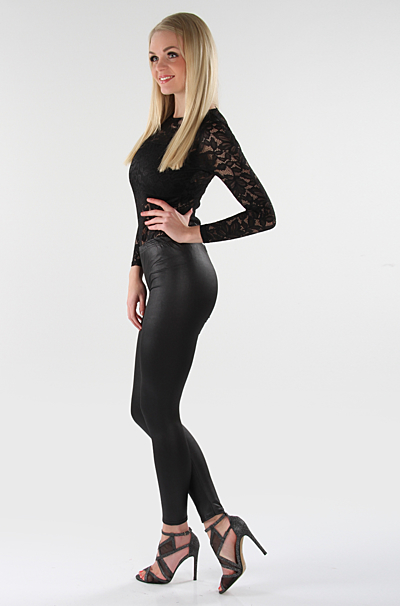 Leatherette Leggings Sort