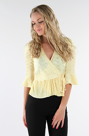 Belle Frill Wrap Top Lemon
