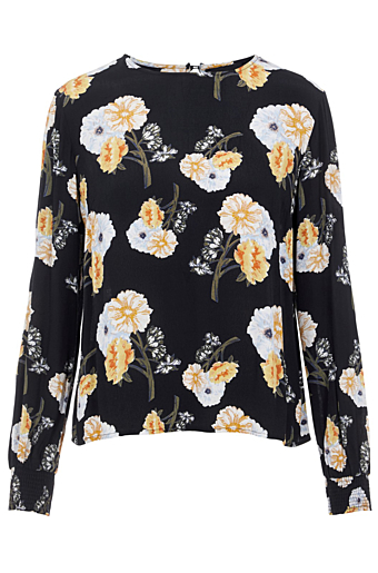 Nadi Bluse Black/Flowers