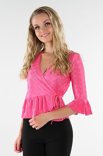Belle Frill Wrap Top Pink
