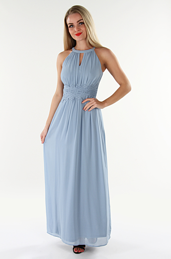 Vimilina Halterneck Maxi Kjole Ashley Blue